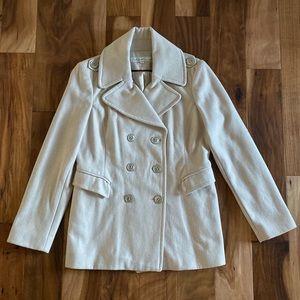 Stunning KENNETH COLE Wool Pea Coat cream jacket
